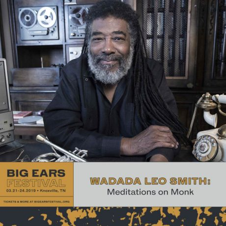 Wadada Leo Smith smiling with Big Ears Festival information box at the bottom
